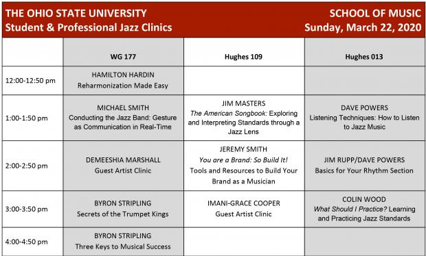 Jazz Clinics schedule